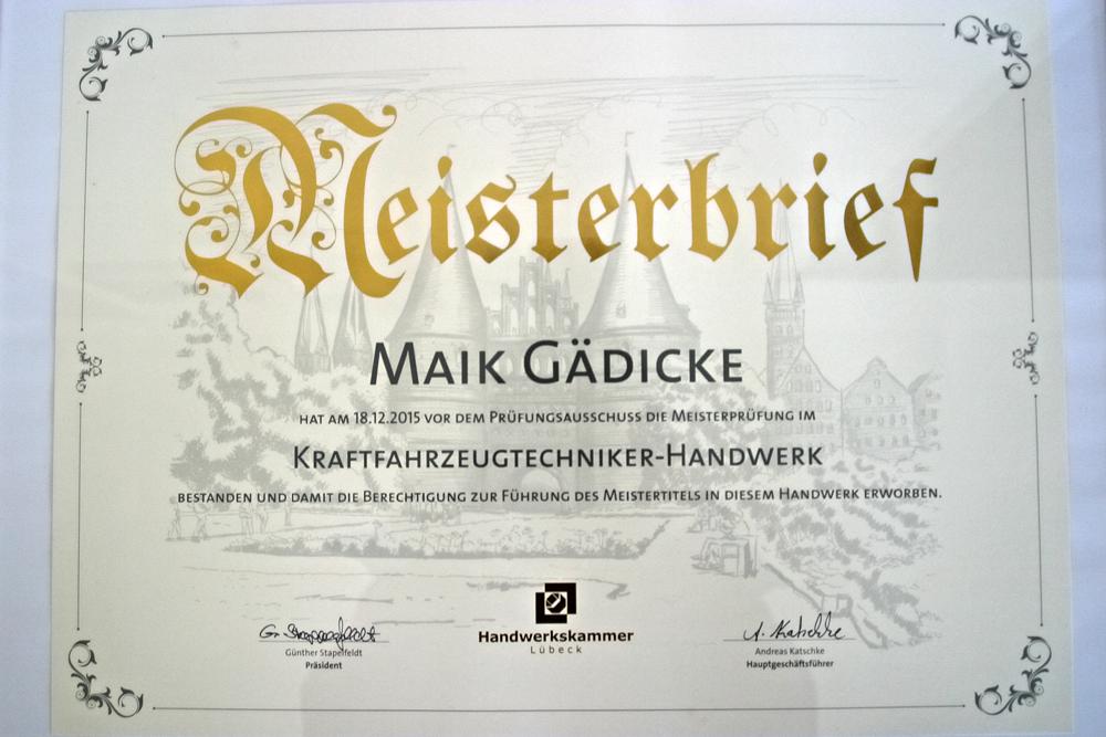 Autoservice Gaedicke Meisterbrief